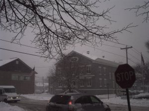 The 1834 Jail during the snowstorm this morning.