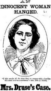 An artist rendering of Roxalana Druse that was done for a newspaper sometime after her execution in 1887.