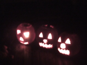 Some Jack O' Lanterns lit up just in time for Halloween.
