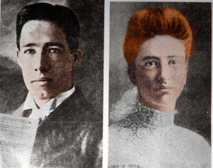 My attempt to hand color the portrait of Chester Gillette and Grace Brown.